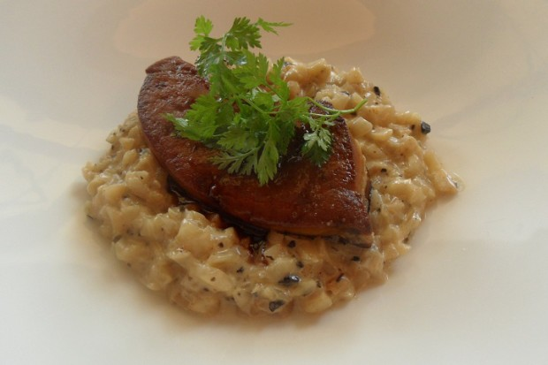 A starter of foie gras and creamy celeriac © Geneva Family Diaries.net