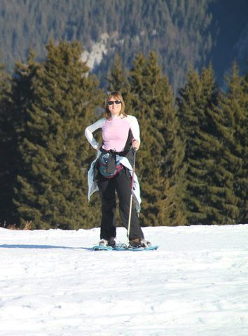 Linda in her element (and that's snowshoeing, not skiing) © Photography Linda Scott