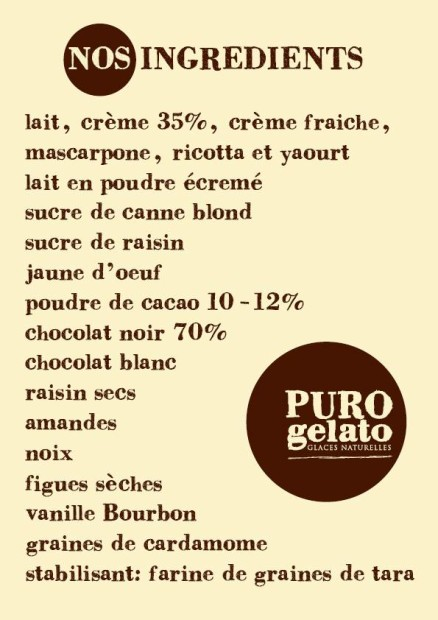 A very reassuring ingredients list © Puro Gelato