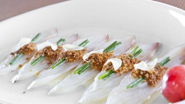 My starter was Seabass Sashimi with dry miso and yuzu juice - photo © Four Seasons Hotel des Bergues Geneva