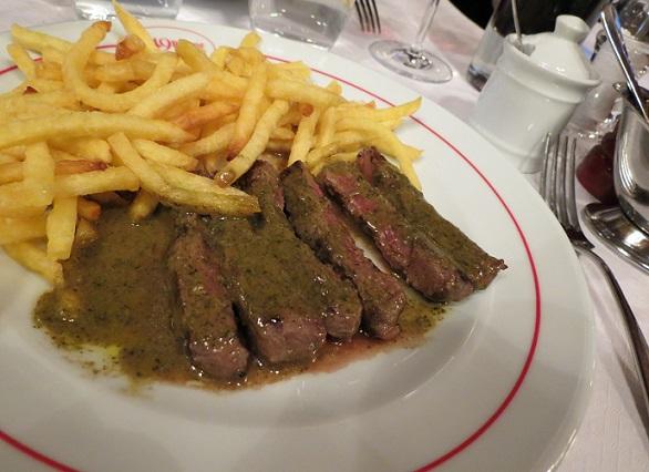 A perfectly cooked steak at Le 49 Rhône, Geneva. Photo © 2015 genevafamilydiaries.net